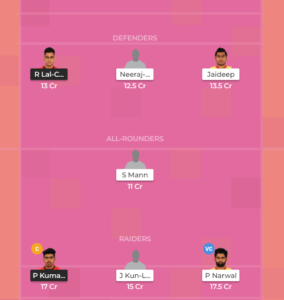 Patna Pirates Vs Benguluru Bulls Dream11
