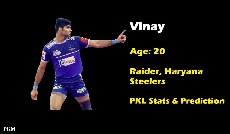 Vinay Pro Kabaddi Stats PKL 2019, PKL 2020 Prediction