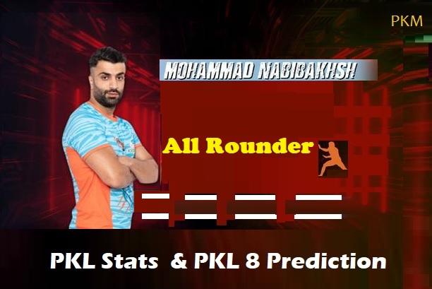 Mohammad Esmail Nabibaksh Pro Kabaddi Stats PKL 2019, PKL 2020 Prediction