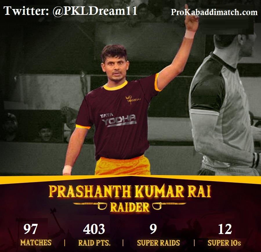 Prashant Kumar Rai Pro Kabaddi Stats PKL 2019, PKL 2020 Prediction