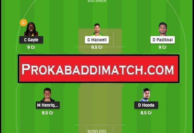 PBKS Vs RCB IPL 2021 Dream11 Prediction Stats & Fantasy Cricket Tips