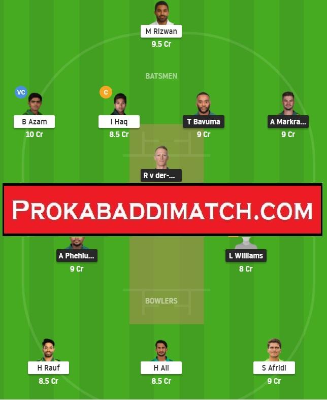South Africa Vs Pakistan 3rd Odi Dream11 Fantasy Cricket Prediction