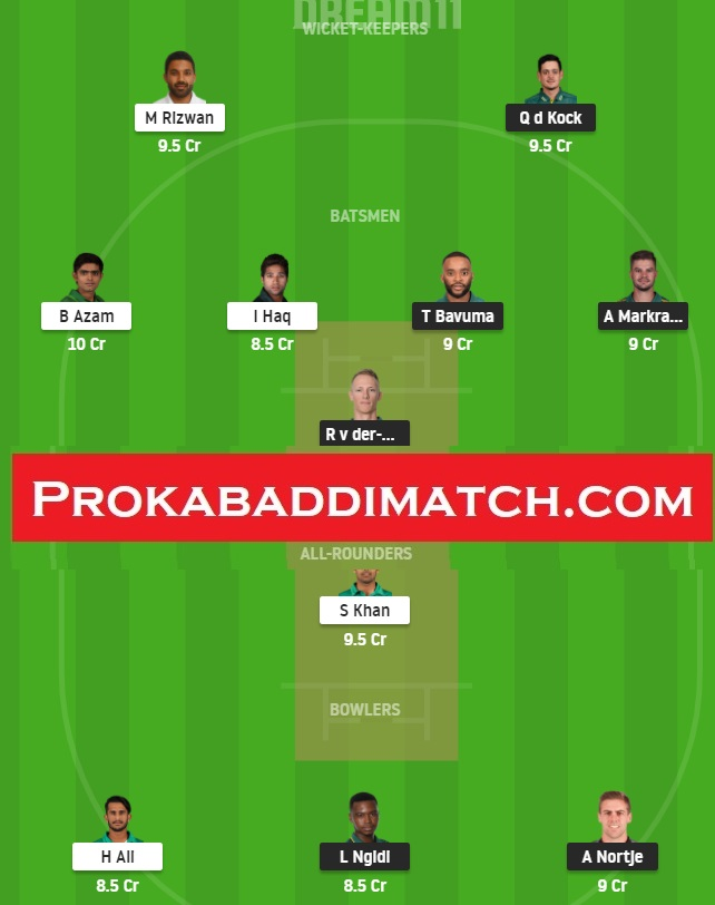 South Africa Vs Pakistan 1st Odi Dream11 Fantasy Cricket Prediction